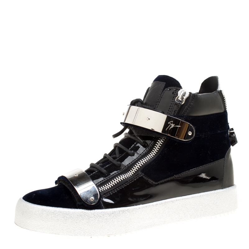 a7afc2b86f24f ... Giuseppe Zanotti Navy Blue Velvet and Black Leather Coby High Top  Sneakers Size 43. nextprev. prevnext