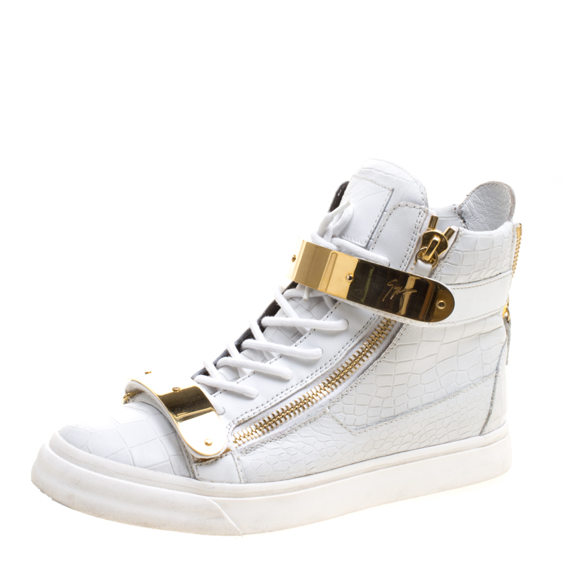 35b4fbe55d463 ... Giuseppe Zanotti White Croc Embossed Leather London High Top Sneakers  Size 41. nextprev. prevnext