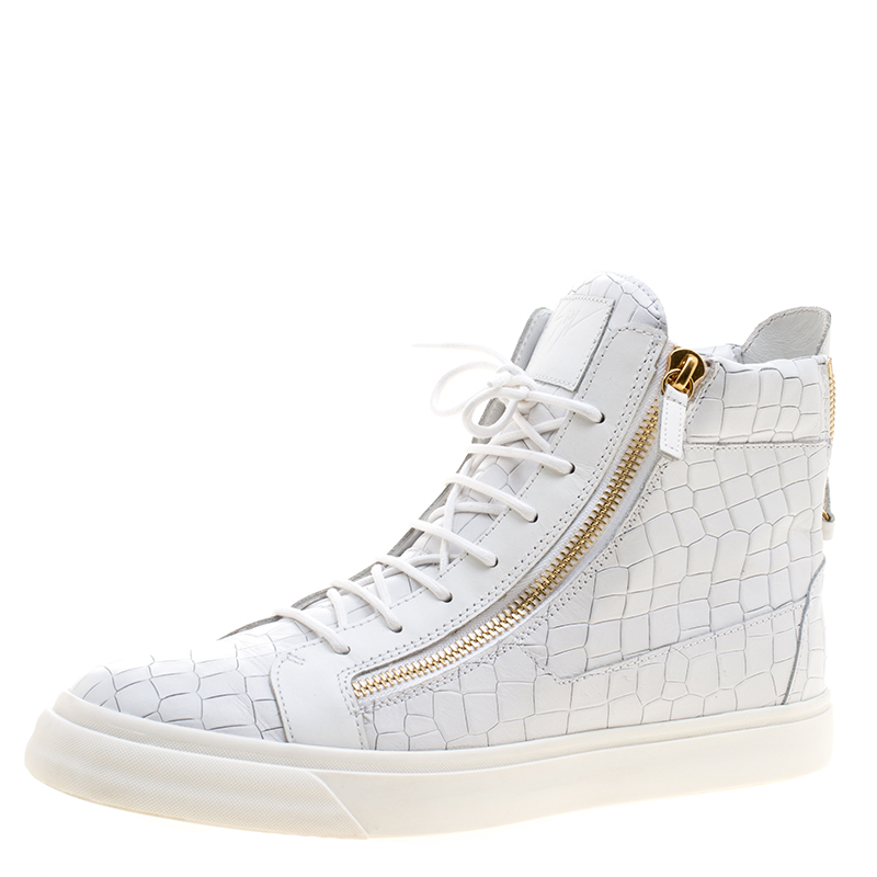a63e14bd98b78 ... Giuseppe Zanotti White Croc Embossed Leather London High Top Sneakers  Size 46. nextprev. prevnext