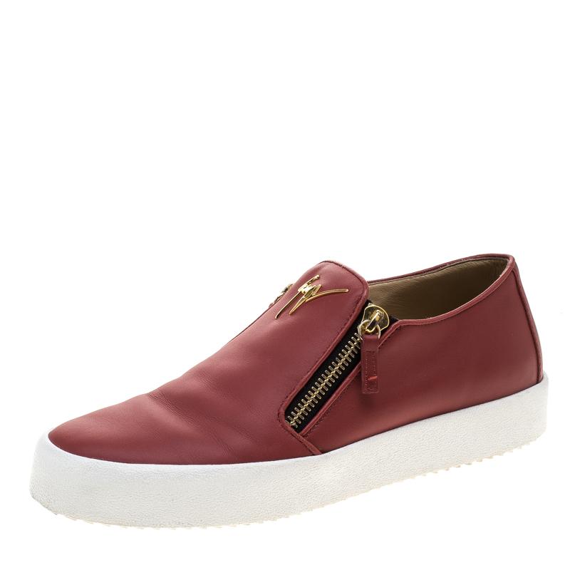 fb0f5feaecef2 ... Giuseppe Zanotti Red Leather Eve Slip On Sneakers Size 44. nextprev.  prevnext