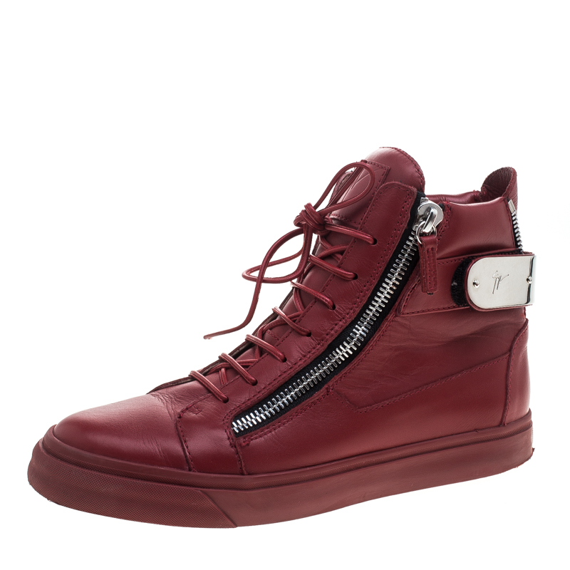 Leather Size Red High Top Giuseppe Metal Buy Accent Zanotti Sneakers BrdCxeoW
