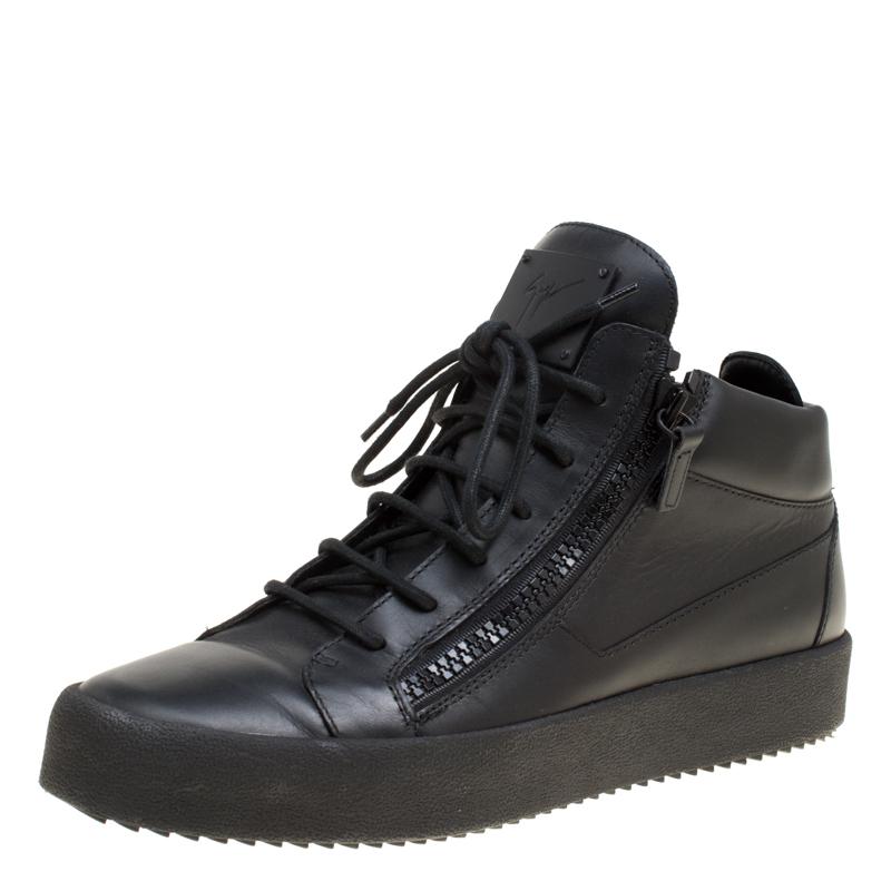 c73788c4f6b42 ... Giuseppe Zanotti Black Leather London High Top Sneakers Size 43.  nextprev. prevnext