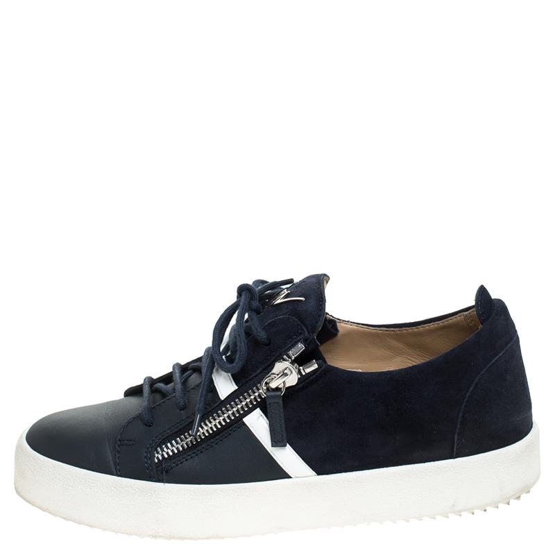 Giuseppe Zanotti En Cuir Bleu Et Du Daim Peut London Double Zip Low Top Sneakers Taille 42.5