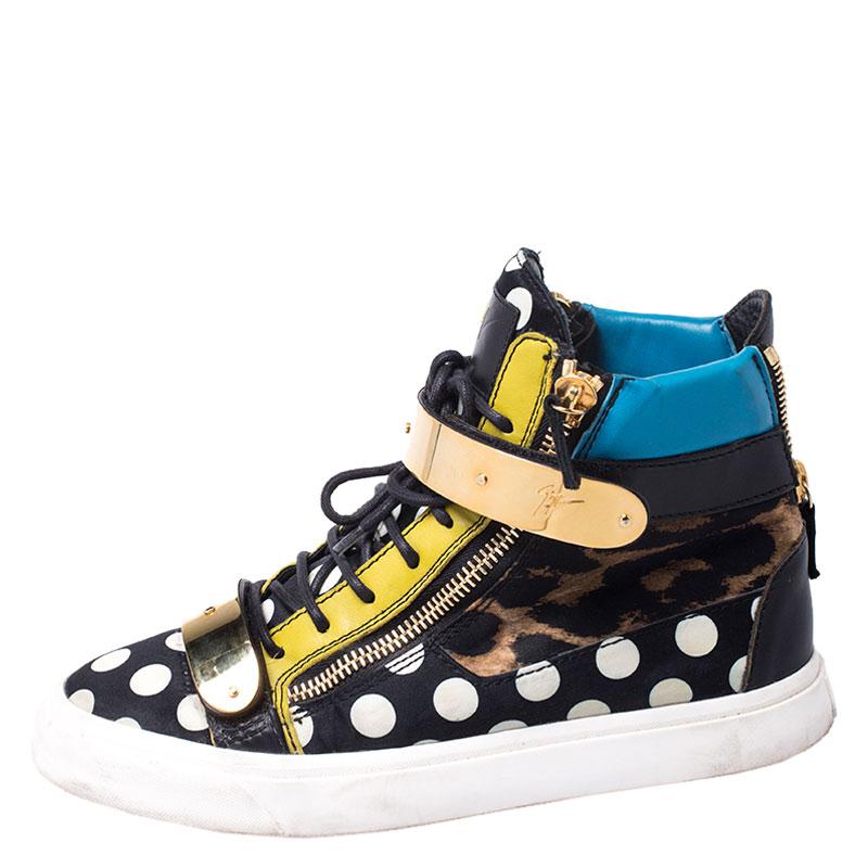 Giuseppe Zanotti Multicolore Leopard/Polka Dot Satin Et Cuir High Top Sneakers Taille 41