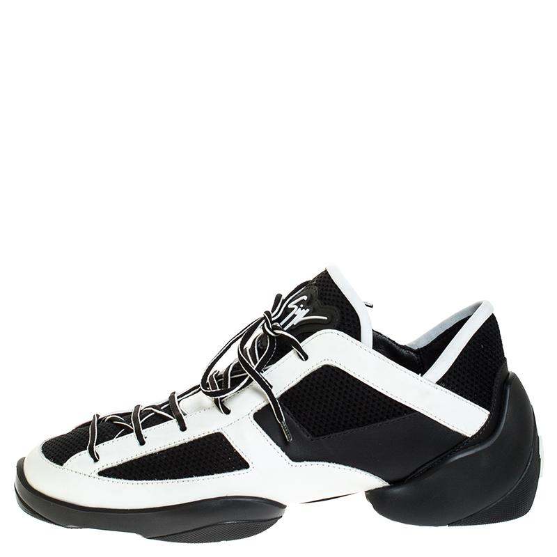 Giuseppe Zanotti Black/White-Leder Und Strick-Stoff Leichter Sprung Sneaker Größe 43.5