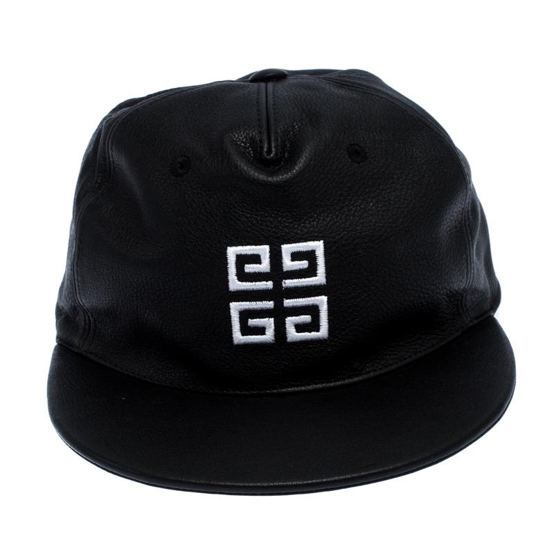 Givenchy Noir Logo Brodé Chapeau En Cuir Taille Unique