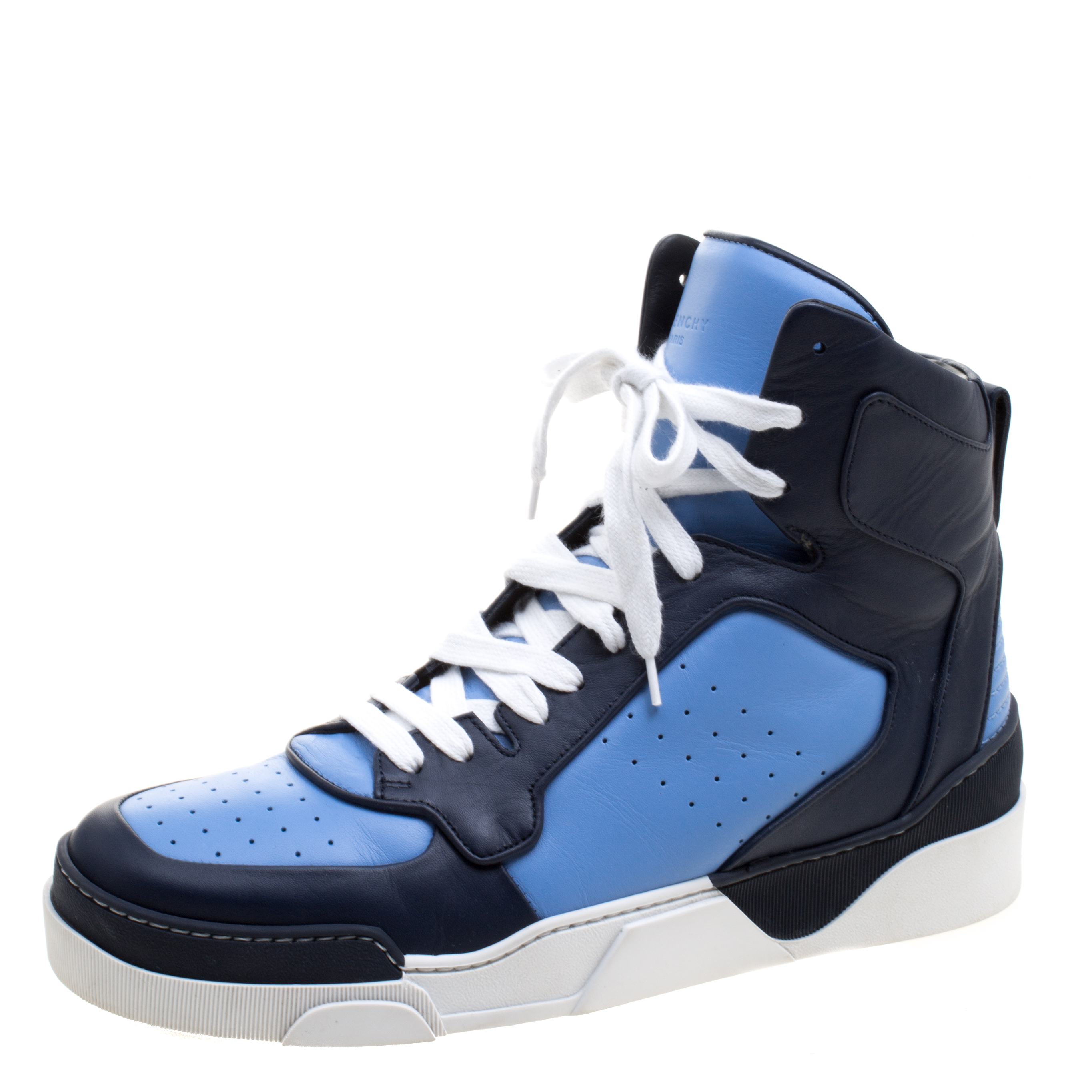 Givenchy Two Tone Leather Tyson High Top Sneakers Size 43
