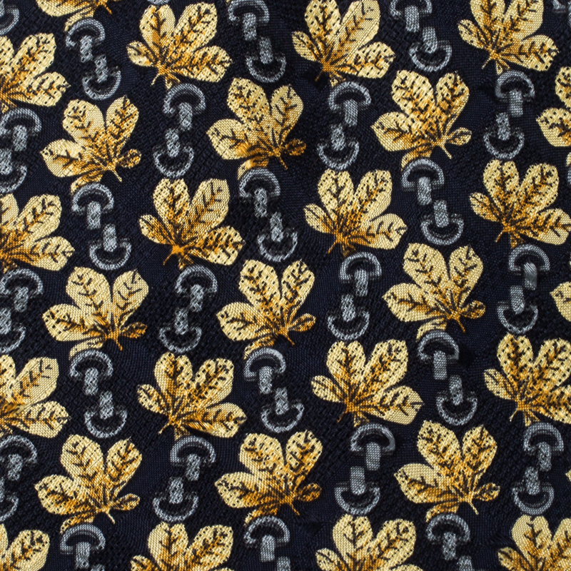 Givenchy Navy Blue Harvest Leaves Printed Traditional Silk Tie