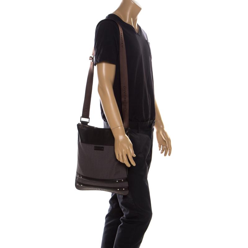 Купить со скидкой Givenchy Brown Signature Canvas and Leather Messenger Bag