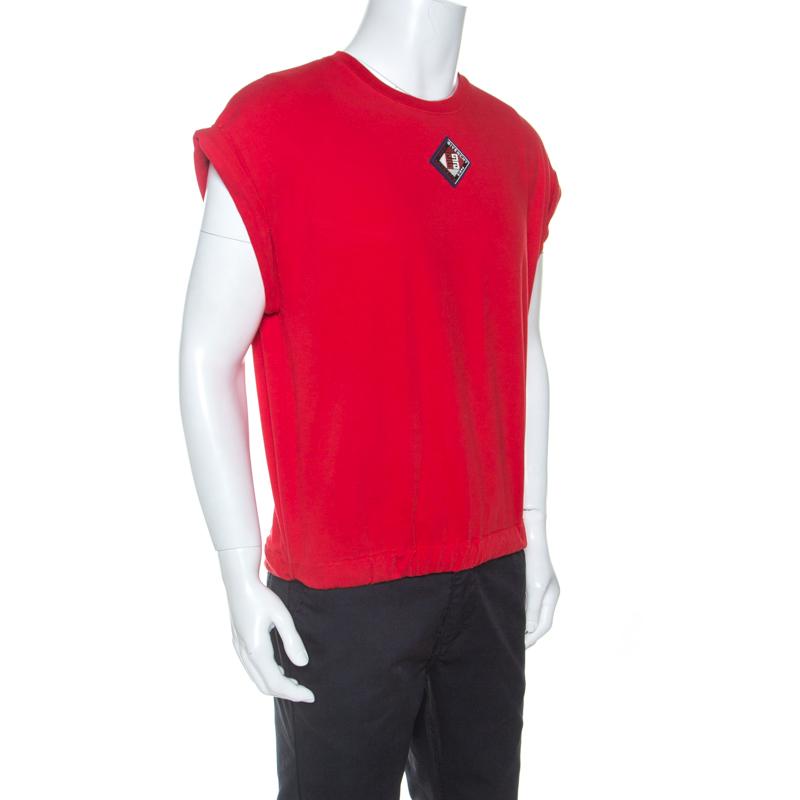 Givenchy Rouge Coton Cordon De Serrage Ourlet Détail À Manches Courtes T-Shirt S