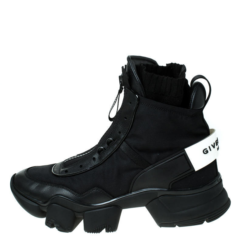 Givenchy Black Nylon and Leather Jaw High Top Sneakers Size