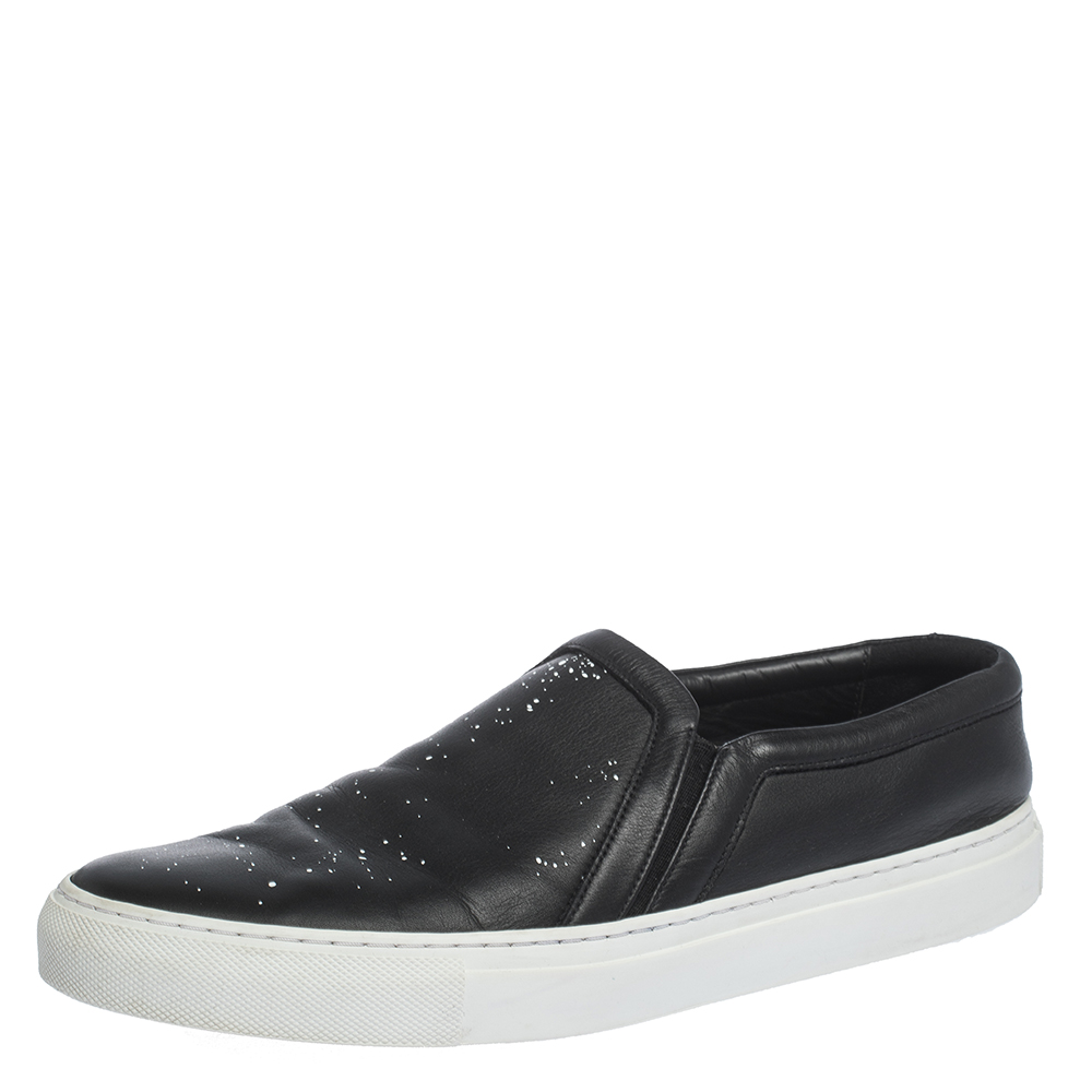 Printed Leather Slip On Sneakers Size