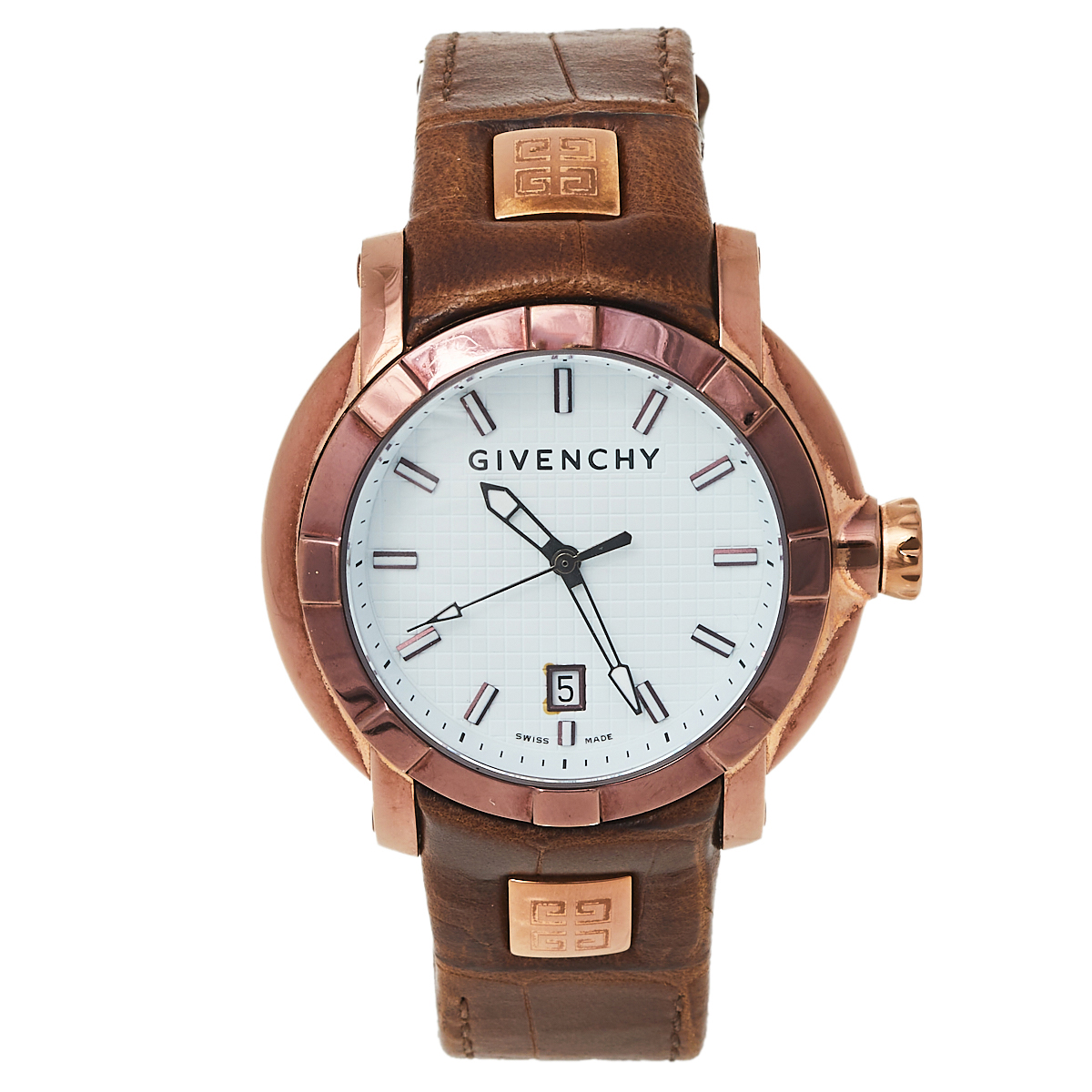 Pre-owned Givenchy White Bronze Tone Stainless Steel Leather Gv5202.m Men's Wristwatch 45 Mm