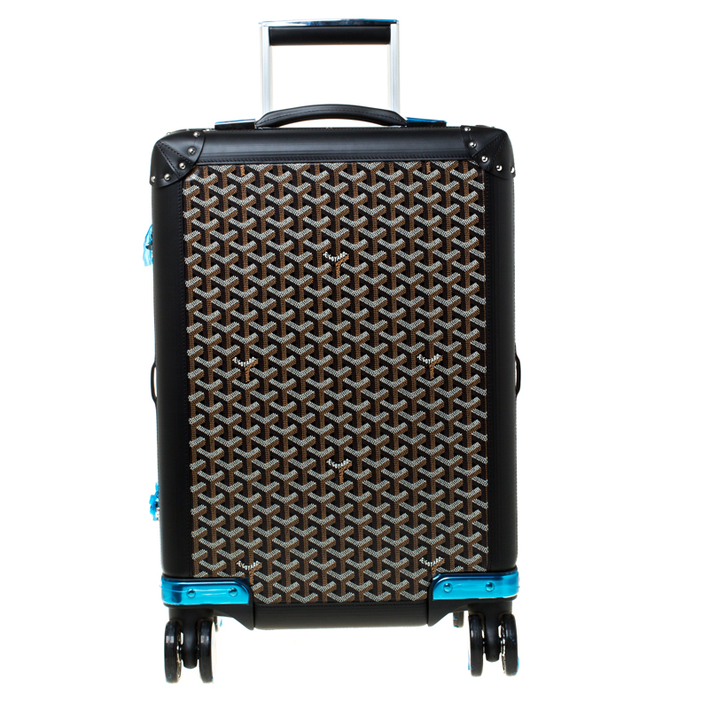 Pre-owned Goyard Ine Canvas And Leather Bourget Pm Trolley In Black