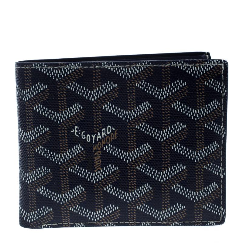 sale retailer c1a35 8c0c3 Goyard Dark Blue Coated Canvas Victoire Bifold Wallet