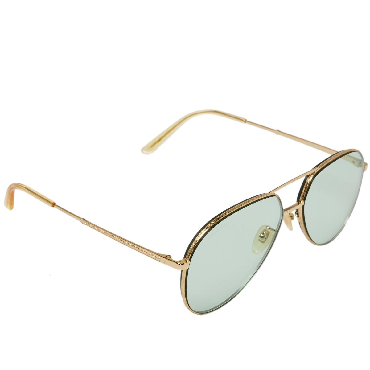 Pre-owned Gucci Gold Tone/green Gg0356s Aviator Sunglasses