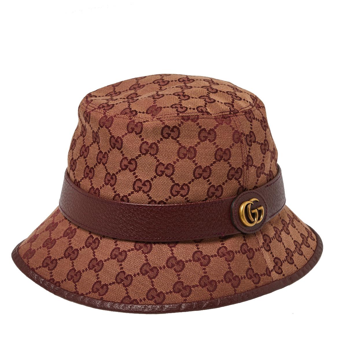 Gucci Burgundy Monogram Canvas Leather Trim Bucket Hat L