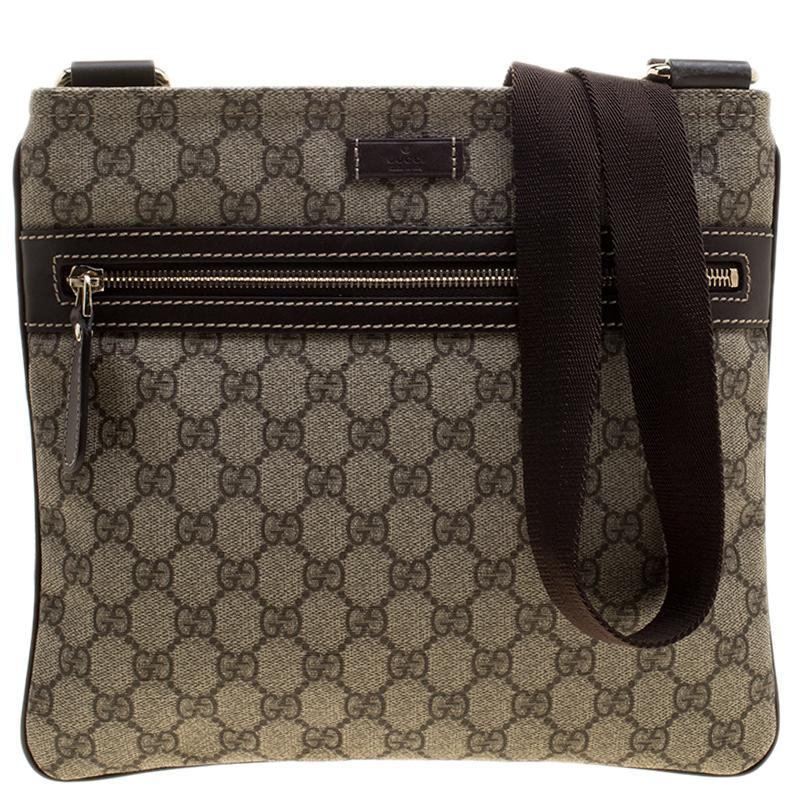 e667800c6129 ... Gucci Beige/Brown GG Supreme Canvas Small Flat Messenger Bag. nextprev.  prevnext