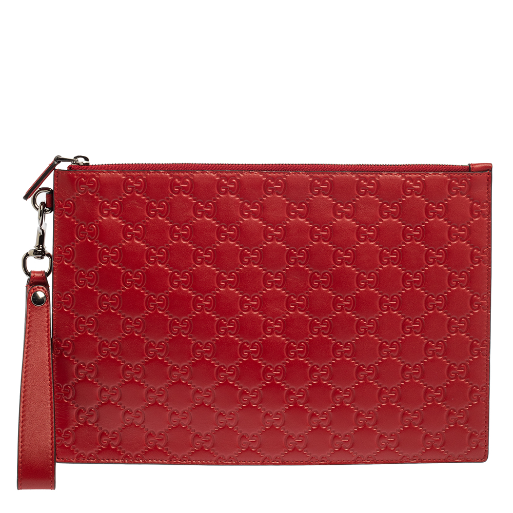 Pre-owned Gucci Ssima Leather Wristlet Pouch In Red