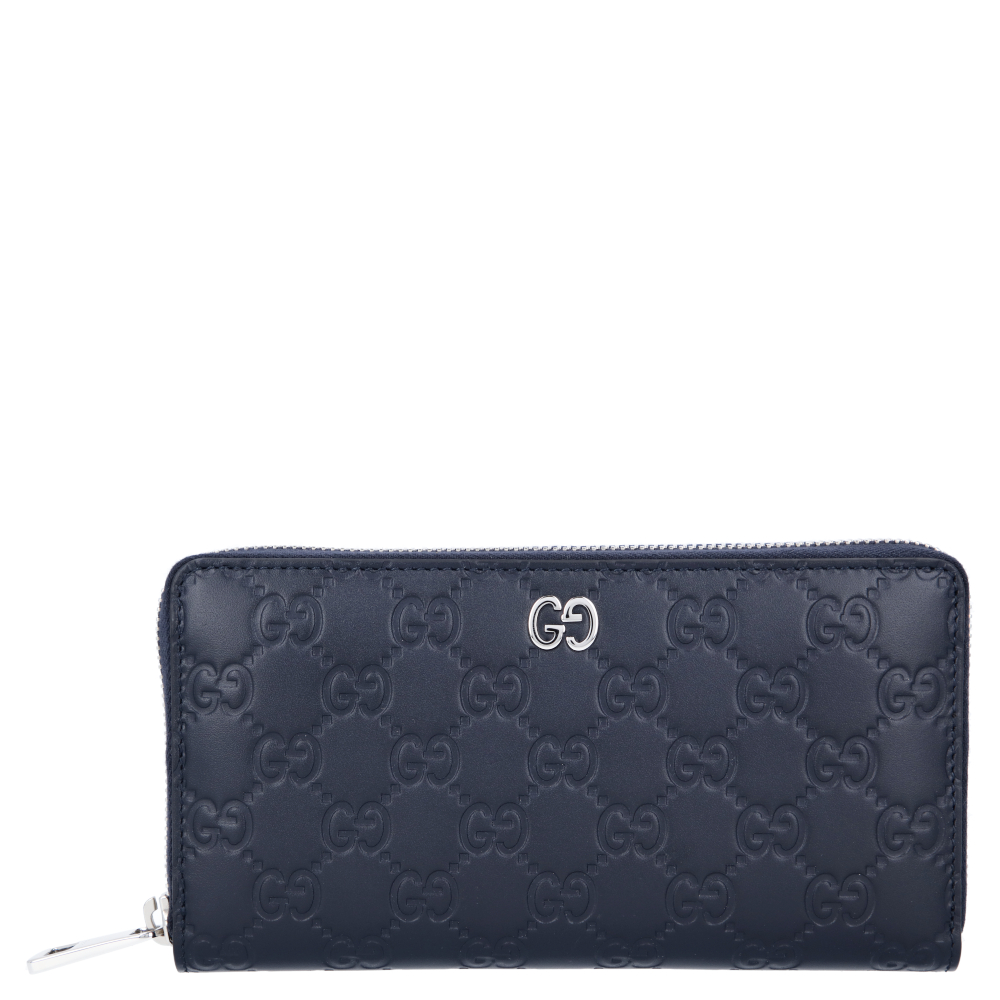 Pre-owned Gucci Ssima Leather Zip Around Wallet In Blue