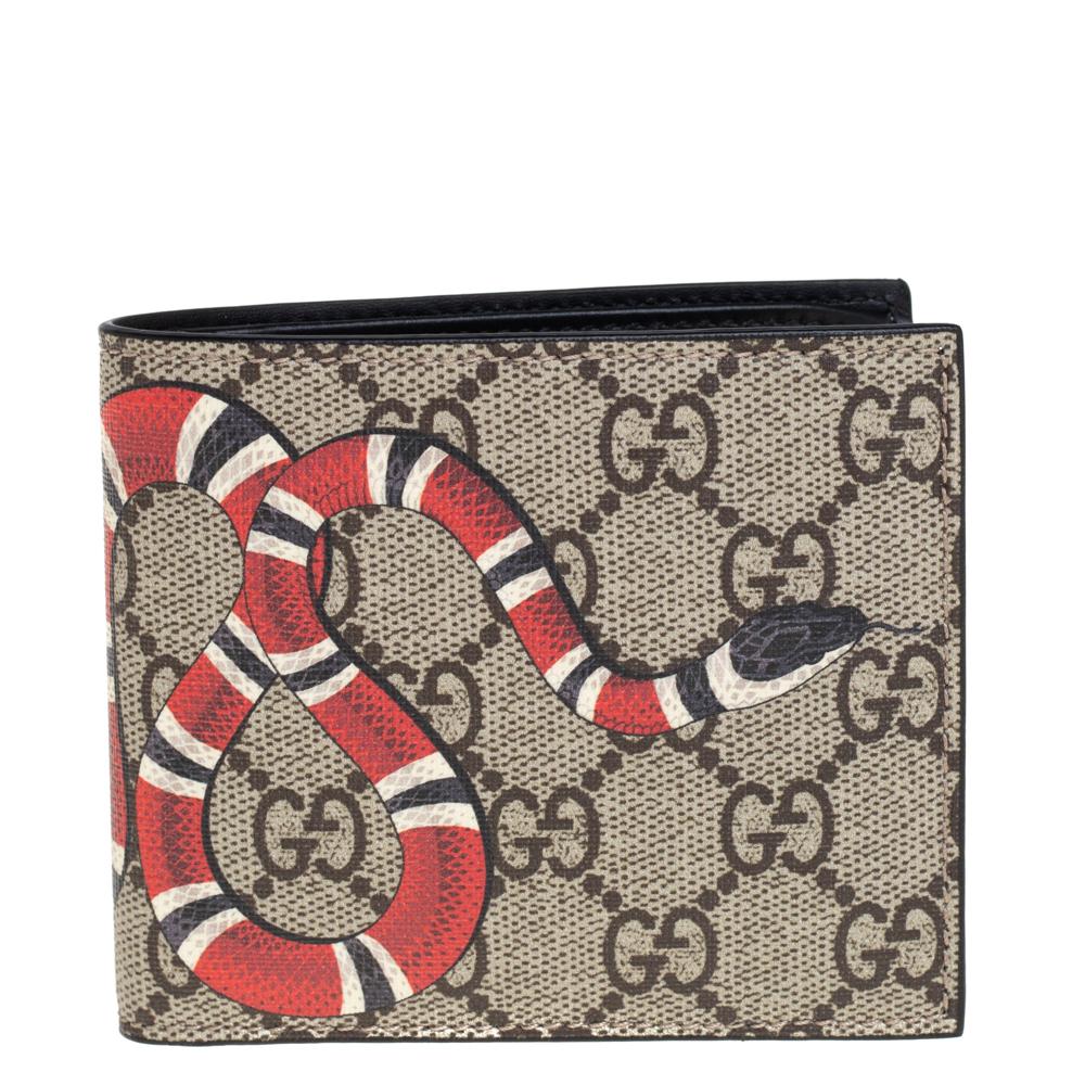 Pre-owned Gucci Beige Gg Supreme Canvas Kingsnake Print Bifold Wallet