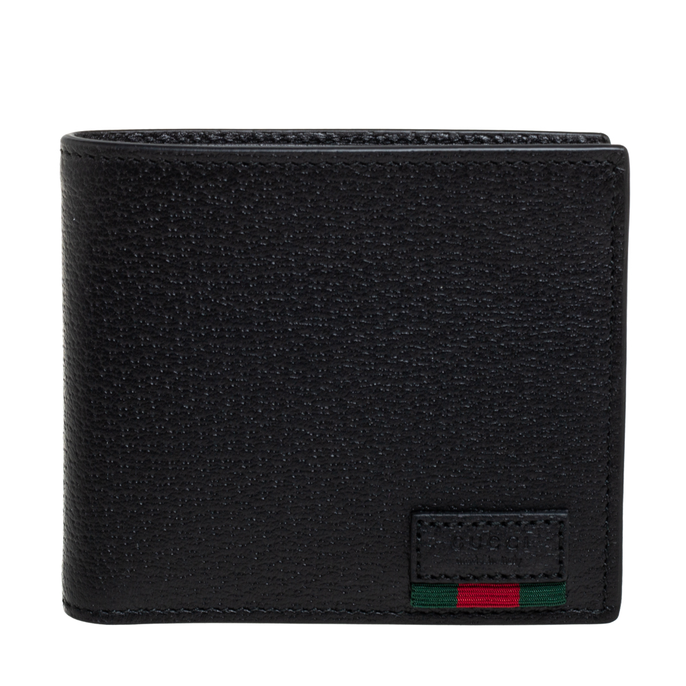 Pre-owned Gucci Black Leather Web Bifold Wallet