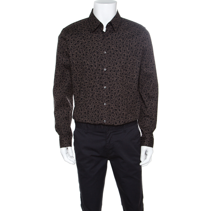 838f894c8 Buy Gucci Dark Brown Leopard Printed Cotton Button Front Shirt 3XL ...