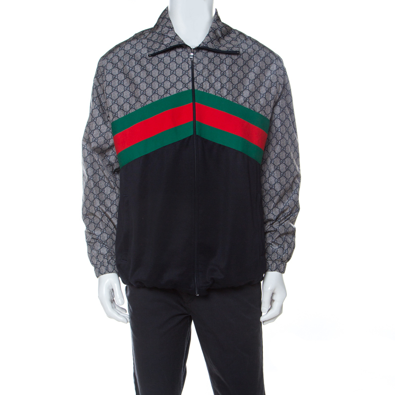 Gucci Multicolor GG Supreme Web Stripe Track Jacket M