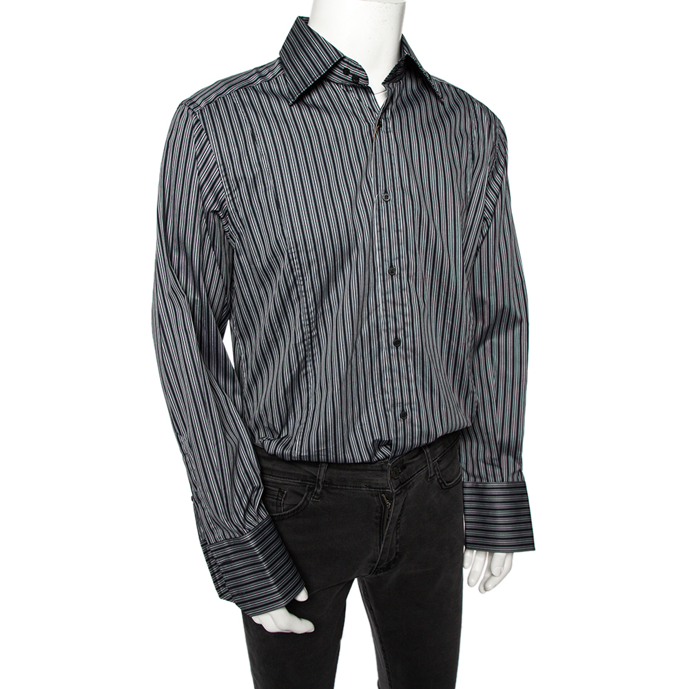 Gucci Grey Striped Cotton Body Slim Fitted Shirt L