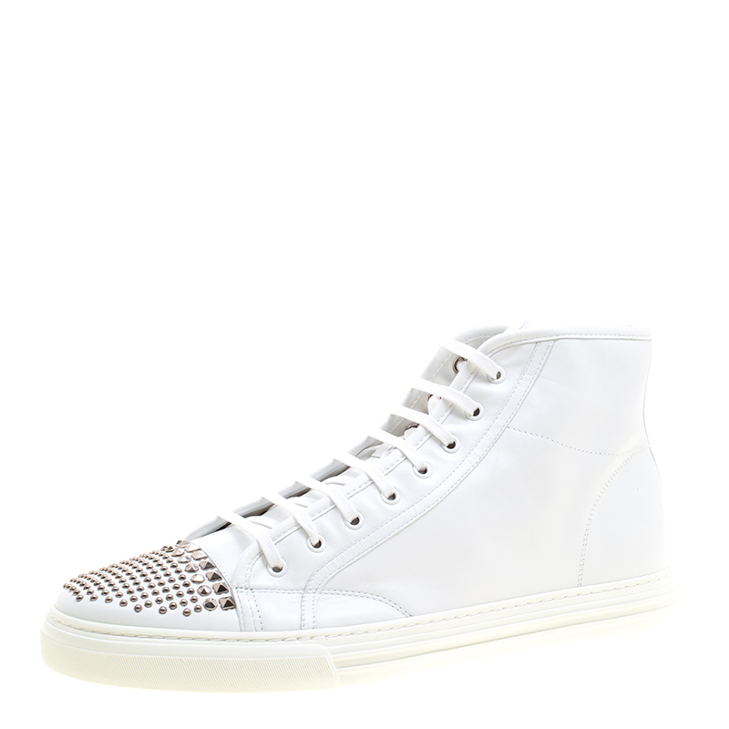 Buy Gucci White Studded Leather California High Top Sneakers Size 48