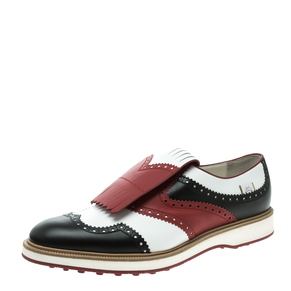1eb4dbab7 Buy Gucci Tricolor Brogue Leather Fringed Golf Oxfords Size 47 ...