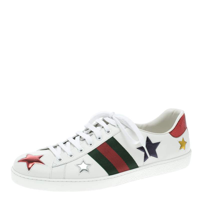 3ce9c933d07 Buy Gucci White Leather Ace Metallic Stars Low Top Sneakers Size ...