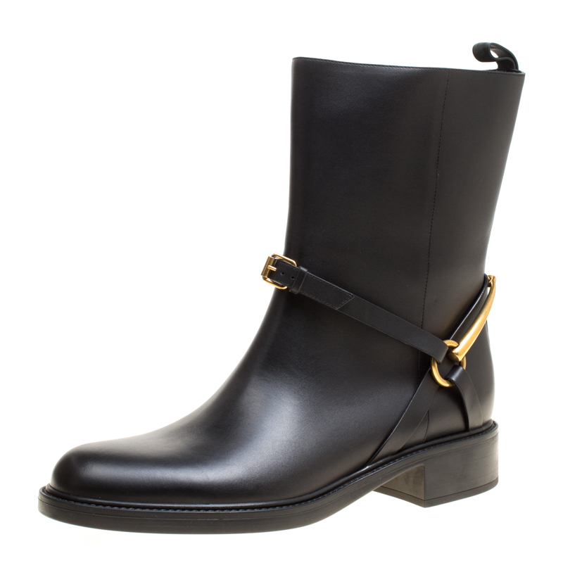 ed80e7c0b Buy Gucci Black Leather Tess Horsebit Ankle Boots Size 41 157472 at ...