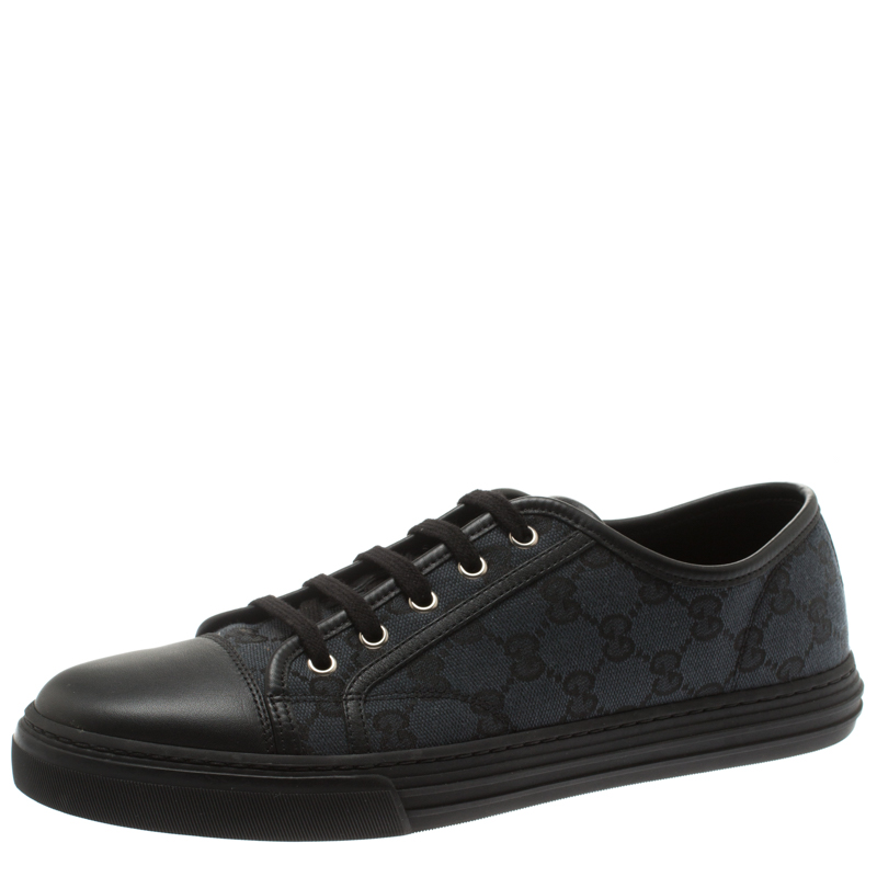 6b2f06471 Buy Gucci Black Leather And Guccissima Canvas Low Top Lace Up ...