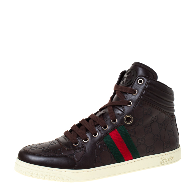 Gucci Brown Guccissima Leather Web Detail Lace High Top Sneaker Size 42.5