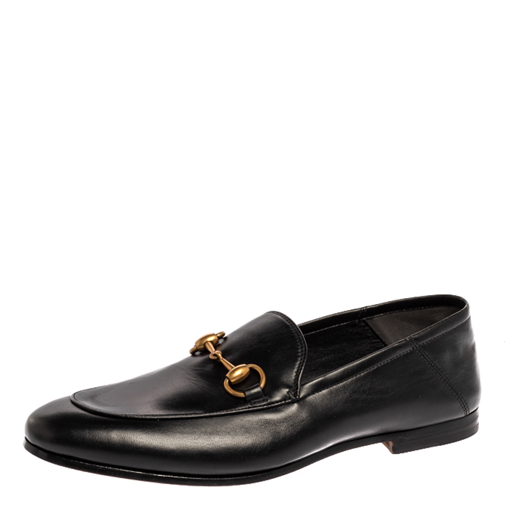Pre-owned Gucci Black Leather Jordaan Horsebit Slip On Loafers Size 40