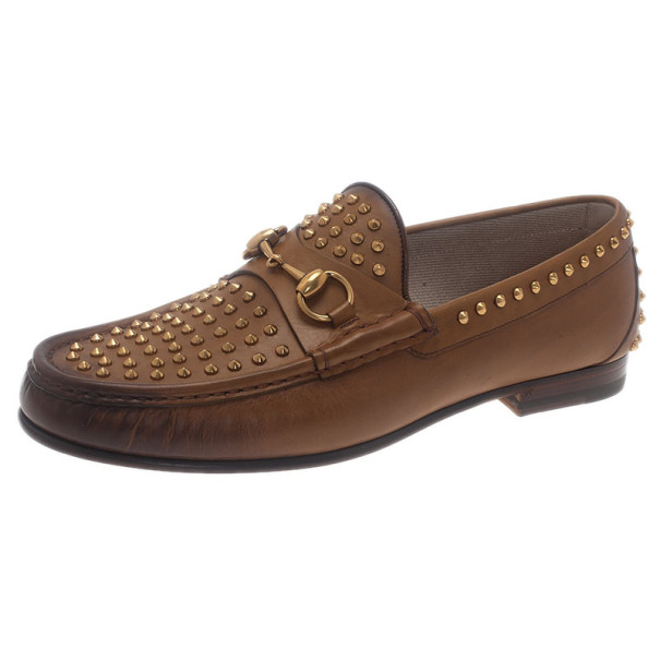 247df00bd76e30 Buy Gucci Brown Leather Studded 1953 Horsebit Loafers Size 41 7352 ...