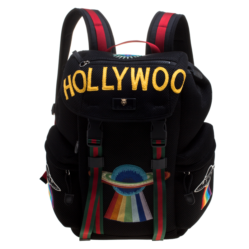 Buy Gucci Black Mesh Embroidered Hollywood Backpack 115090 at best ... 2e6cd36f2ccff