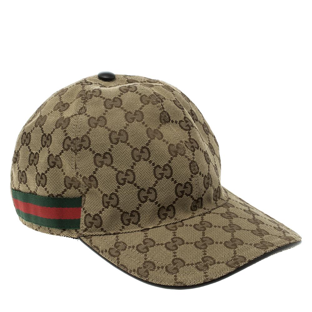 6fa7c127 ... Gucci Beige Guccissima Canvas and Leather Web Detail Baseball Cap XL.  nextprev. prevnext