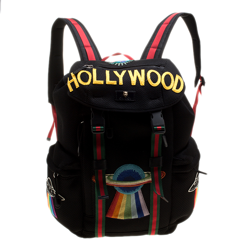 9359fc79d995 ... Gucci Black Mesh Fabric Hollywood Embroidered Backpack. nextprev.  prevnext
