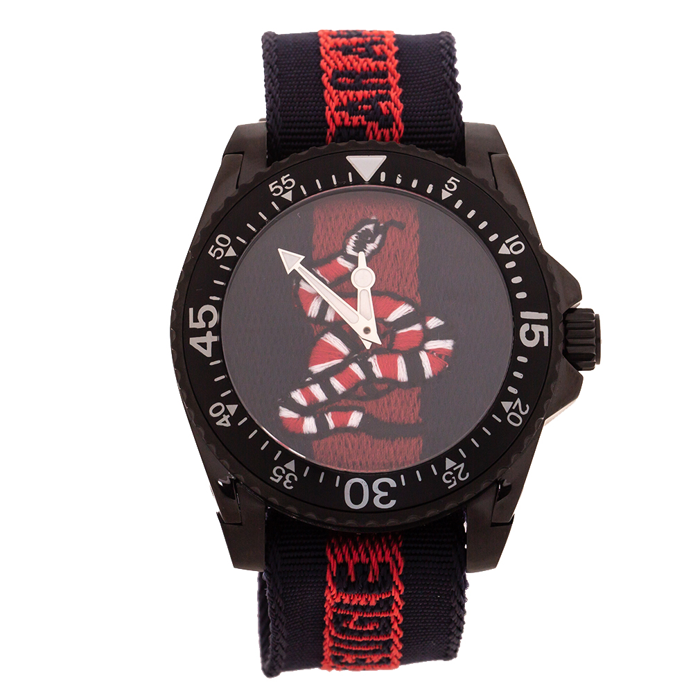 Gucci Black PVD Coated Stainless Steel Dive Snake Embroidered 136.2 Men's Wristwatch 45 mm