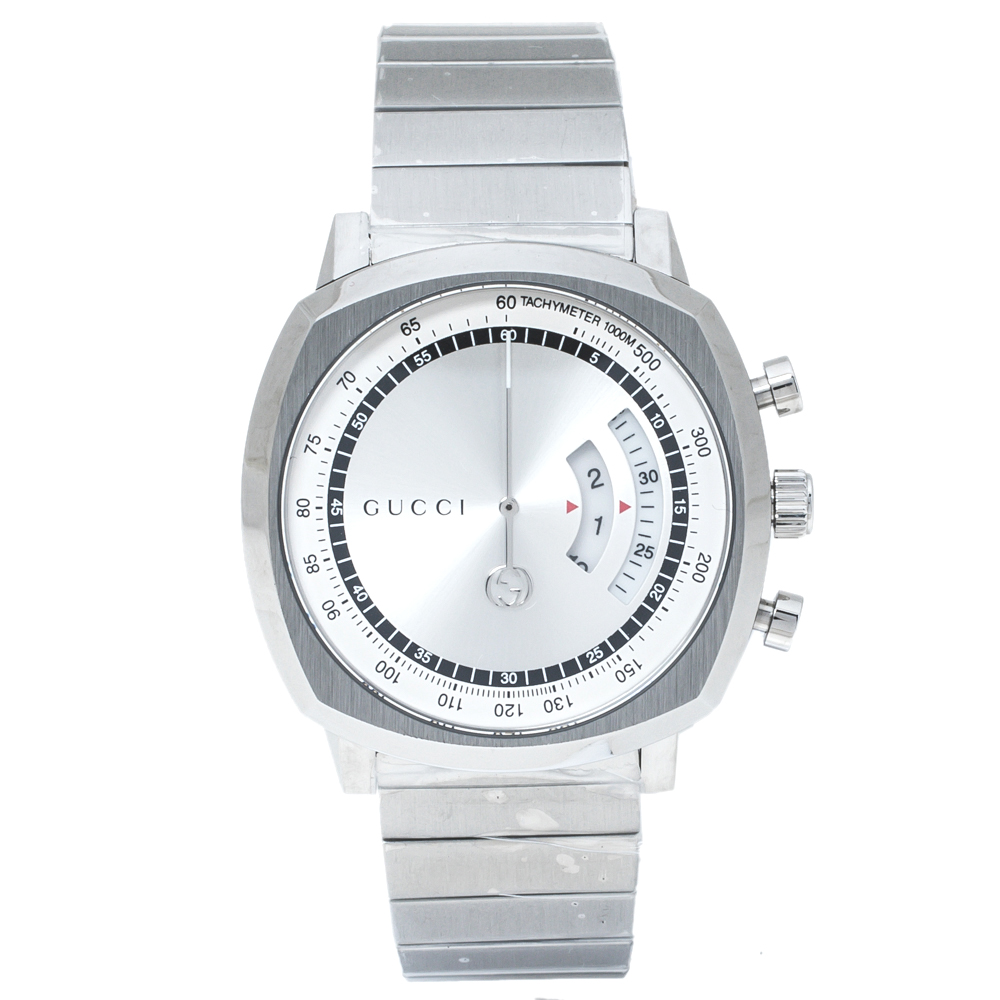 Pre-owned Gucci Silver Stainless Steel Grip Ya157302 Men's Wristwatch 40 Mm