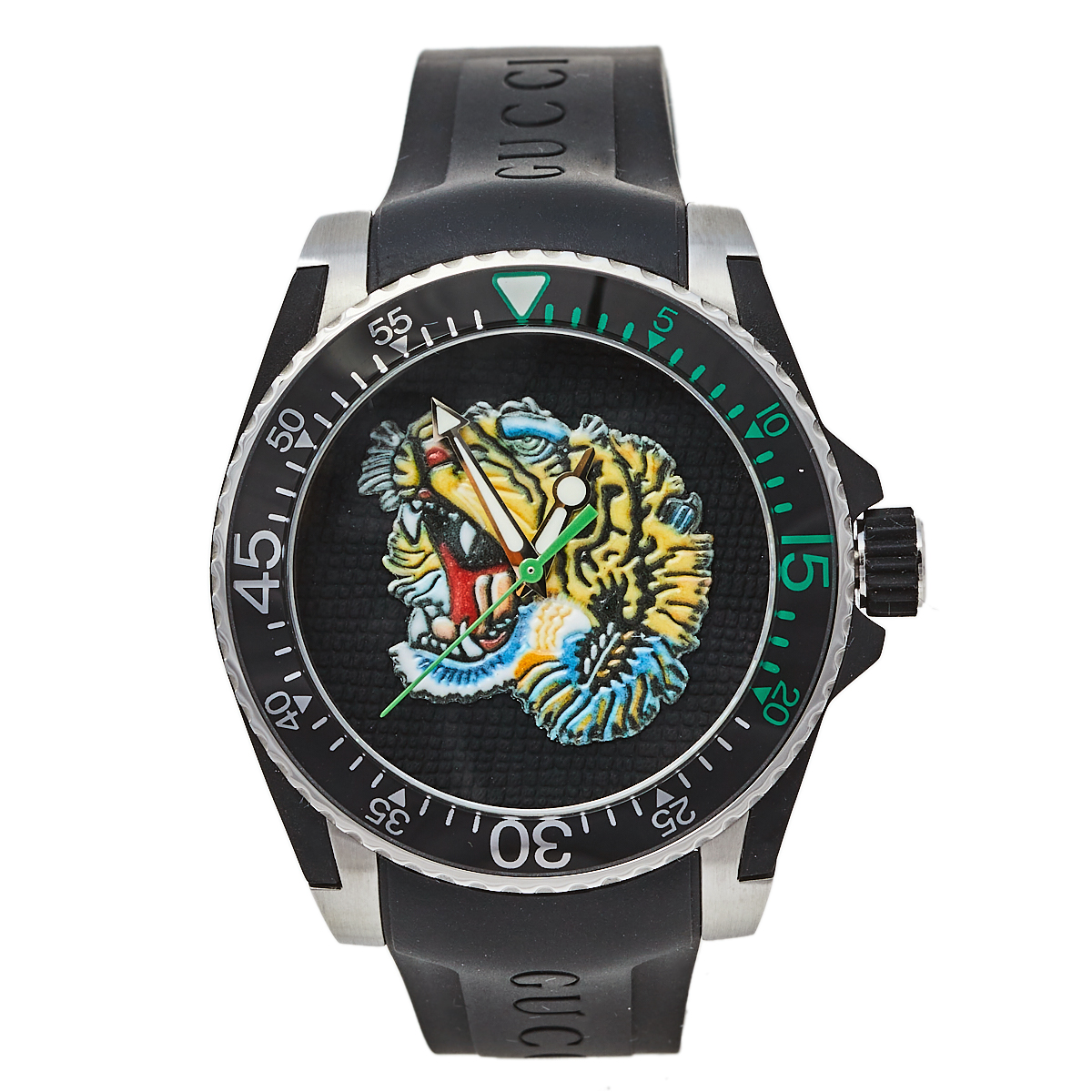 Pre-owned Gucci Black Stainless Steel Tiger Motif Dive Ya136318 Men's Wristwatch 40 Mm