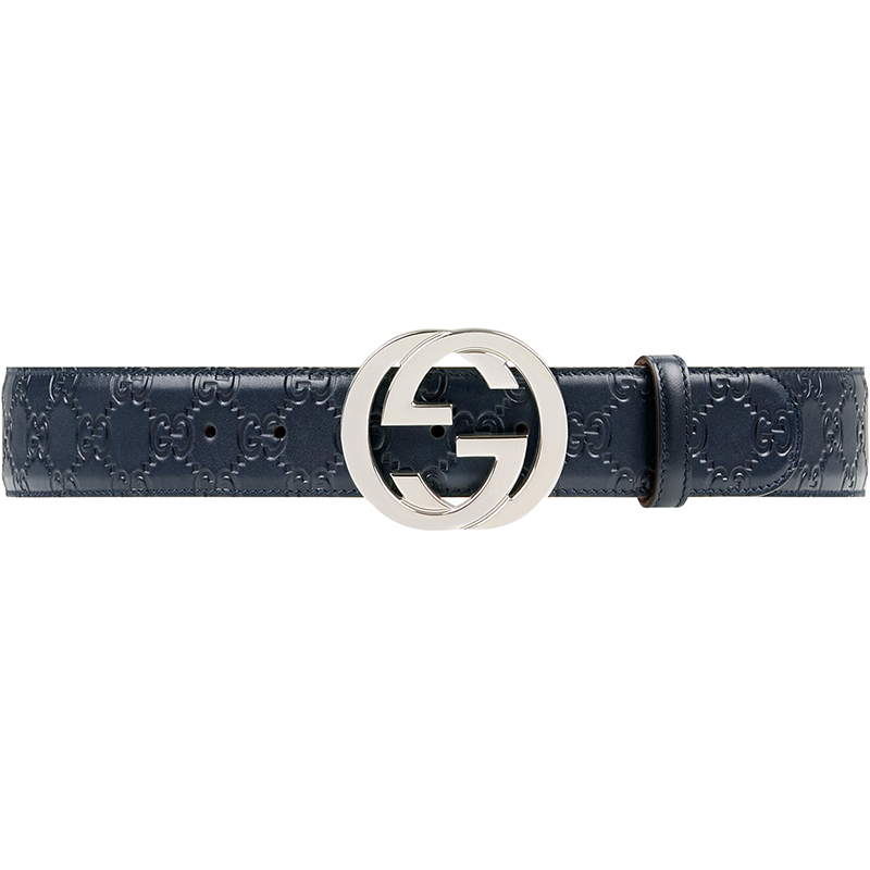 Gucci Blue Guccissima Leather Belt Size 85CM