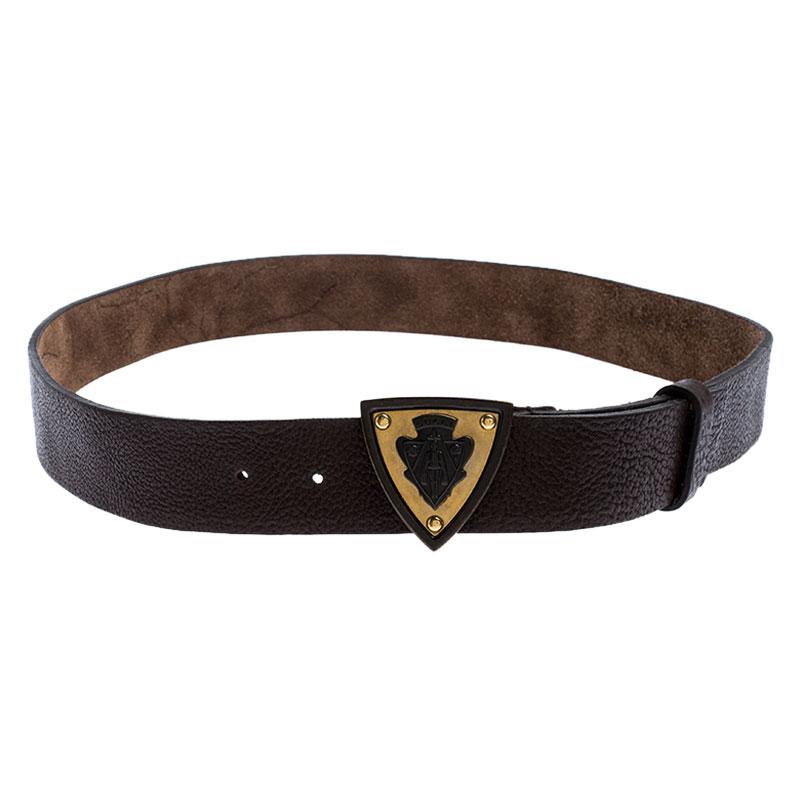 Gucci Dark Brown Leather Hysteria Crest Buckle Belt 100CM