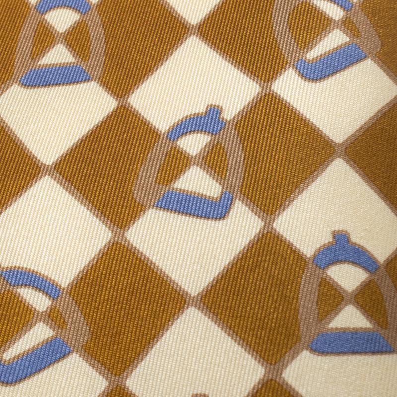 Gucci Vintage Bronze Gold Stirrup Print Silk Tie, Brown  - buy with discount