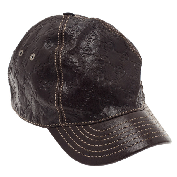 5d085e239bd Buy Gucci Brown Guccissima Leather Baseball Cap M 3208 at best price ...