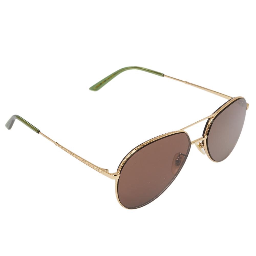 Pre-owned Gucci Gold Tone/brown Gg0356s Aviator Sunglasses