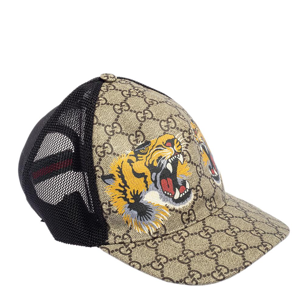 GUCCI BEIGE TIGER PRINTED CANVAS & MESH BASEBALL CAP L