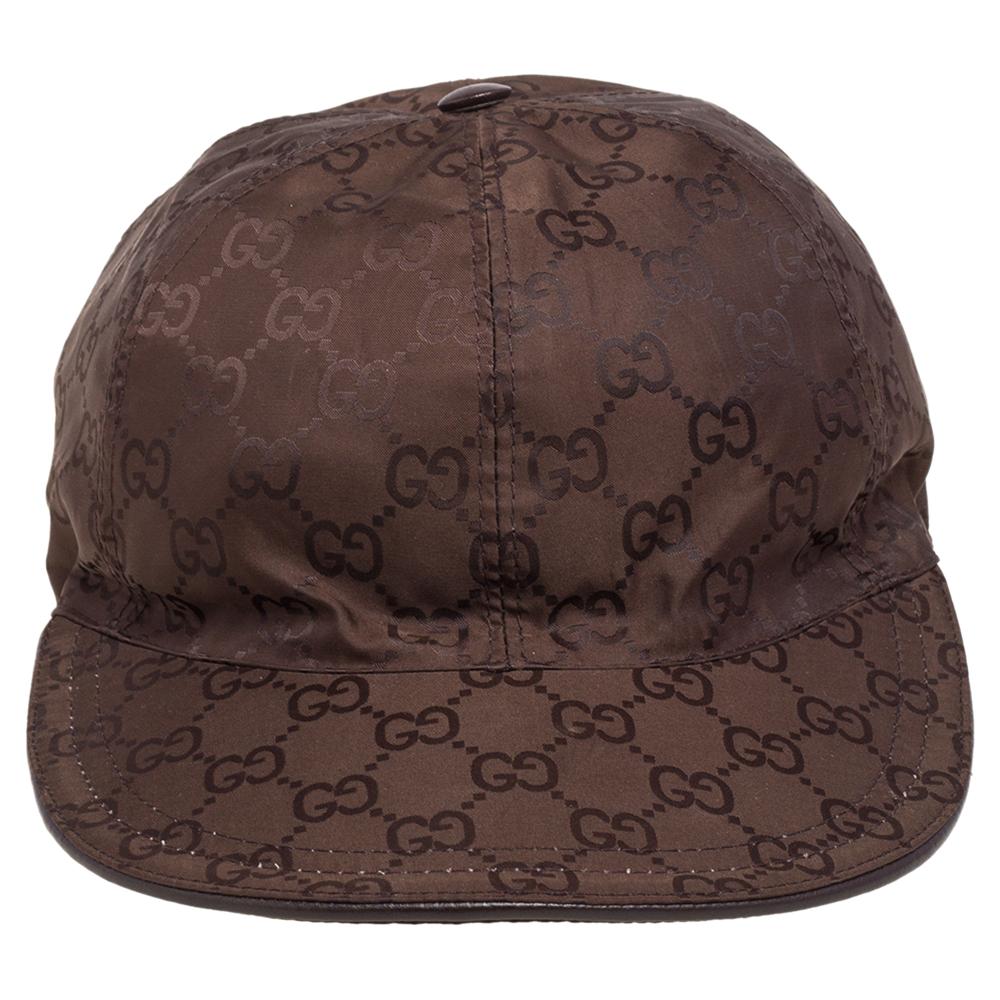 Gucci Brown Logo Detail Synthetic Baseball Cap M